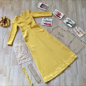 Vintage Arpeggio 70s yellow maxi dress with slits